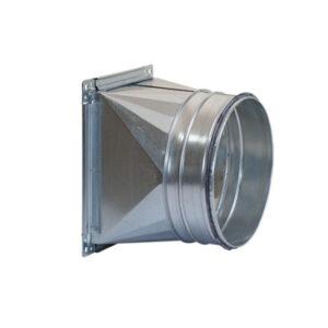 Tubulatura ventilatie desfumare, schimbare a sectiunii de la rectangular la circular